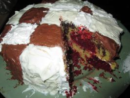 Red Velvet/Fudge marble cake by DancingFerret