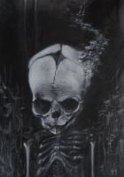 Fetal Skull Dreamer Charcoal Drawing by Echoesinthefog