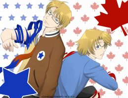 Hetalia - America and Canada by AquaWaters