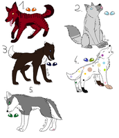 Wolf Adoptables (2 LEFT!) by GPIsMyWannabe