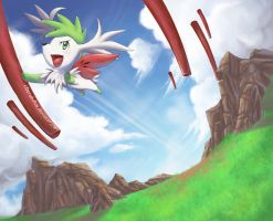 Shaymin: Sky Warrior by cherubchan