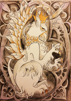White and gold griffin by MissTastic