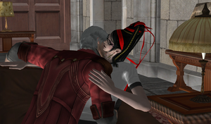 dante and bayonetta kissing by nika9282