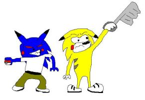 Sonic Throndyke vs Sonichu by twisterfiendish
