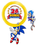 Happy 24th Anniversary Sonic! by SherryBlossom