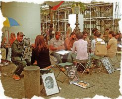 Les caricaturistes a Beaubourg by MaliciaRoseNoire