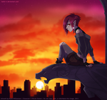 Zeia and the sunset by Katie-W