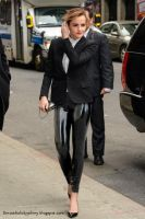 Emma Watson wearing Latex Leggings by Andylatex