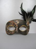 Black Bronze and Gold Masquerade Mask by maskedzone