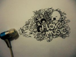 I LOVE MUSIC Doodle by naldojunio