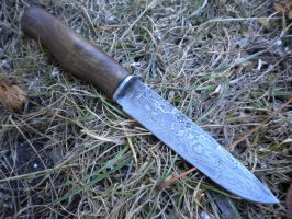 Small damascus knife with walnut by hellize