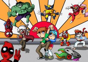 Scott Pilgrim vs Marvel Capcom by Master-Angel