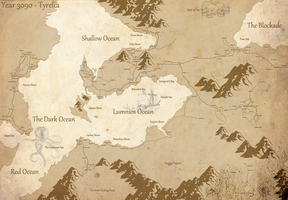 Fantasy map - Tyrelia year 3090 by Gotagetoing