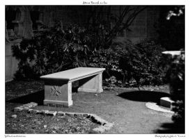 Stone Bench in bw by yellowcaseartist