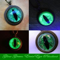 Green Scale Dragon Eye Pendant - Take 3 - GLOW by LadyPirotessa