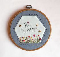 Hi Honey Hand Embroidery Needlework Pattern by MasonBee