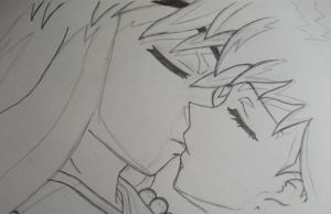 Pencil Inuyasha + Kagome Kiss by 0han-nah0