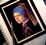 The Girl with the Pearl Earring - Pen drawing by atahirART