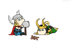 baby Thor and Loki by GoreChick