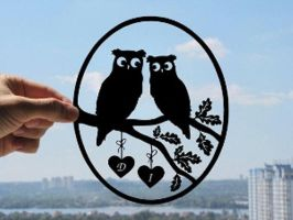 Cute Owl Couple Handmade Original Paper Cut by DreamPapercut