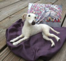 Needle Felted Greyhound by JessieDockins
