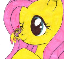 Fluttershy and a Rosy Maple Moth by Nekonya96