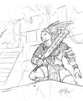 tribal warrior sketch by Namh