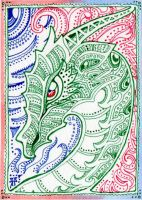 ACEO:Dragon of Flame and Air by lutamesta