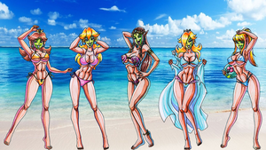 She Masked Nintendo Girls on the Beach by Yoshi9288