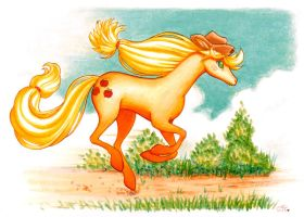 Galloping Applejack by CassieFrese