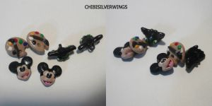 Mickey Toothless Button Set by ChibiSilverWings