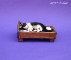 Ooak Handmade Miniature Sleeping Cat and bed by AGZR-STUDIOS