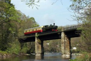 Auto-train on Dee bridge, Llangollen Railway. by MadDan