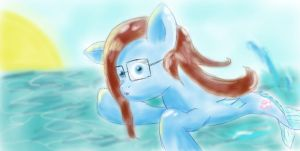 Digi's sister the Sea Pony!  Fluffyfied! :D by DragonsAndDreamscape