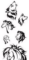 Simple Tribal Animal Designs by TheHellcow