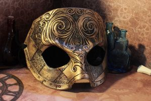 Antiqued Gold Leather Mask by aGrimmDesign