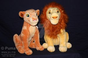 Adult Simba and Nala plush by dapumakat