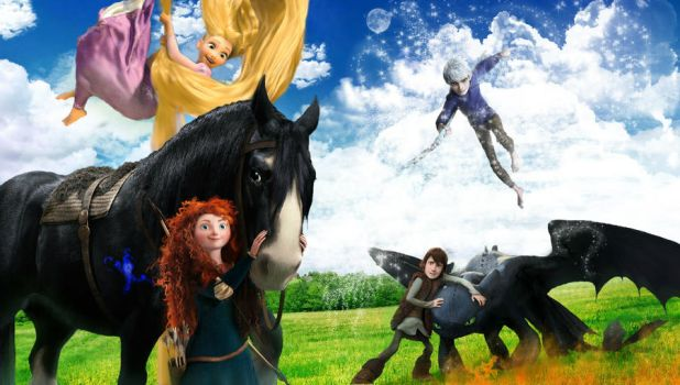 Rapunzel Merida Jack Frost Hiccup by Robono
