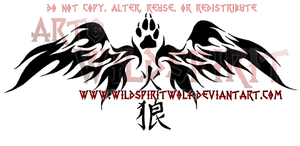 Fire Wolf Flame Wings Tattoo by WildSpiritWolf