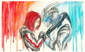 FemShep and Garrus by Shaya-Fury