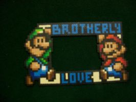 Mario Brothers Perler Frame by yumeleona23
