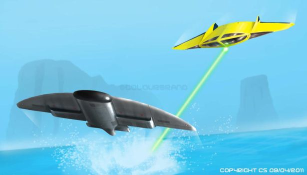 Flying sub Vs Attack craft by Colourbrand