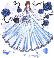 Blue Rose Dress Design by monakadaj