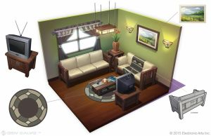 Sims 4 - Mission Living Room Entertainment Area by DeivCalviz