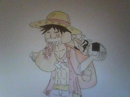 OP2Y: Luffy Eating on the Go by XfangheartX