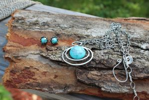 Turquoise Floating Opal Necklace and earrings by artistiquejewelry