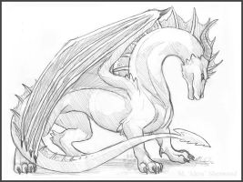 Imposing Dragon Sketch by Idess