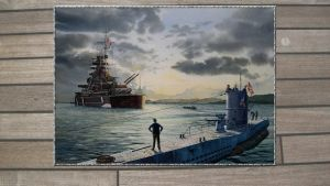 3rd Reich KMS Bismarck and a Type VII B U-boat by PanzerBob