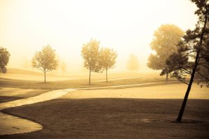 Sepia Foggy Golf Course by jrbamberg