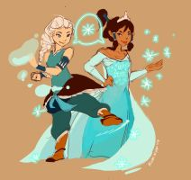 Korra and Elsa by KimNipp